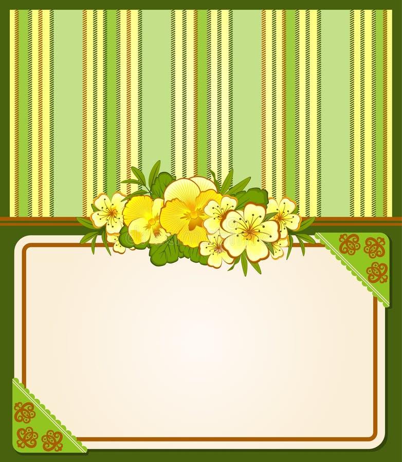 Fundo com ornamento e flores do laço ilustração stock