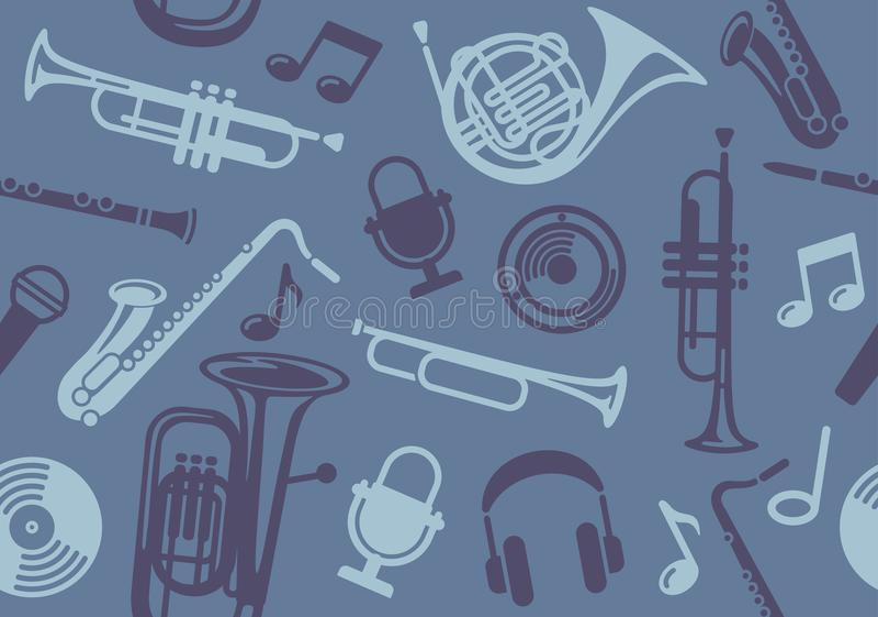 Fundo com os instrumentos musicais do vento ilustração royalty free