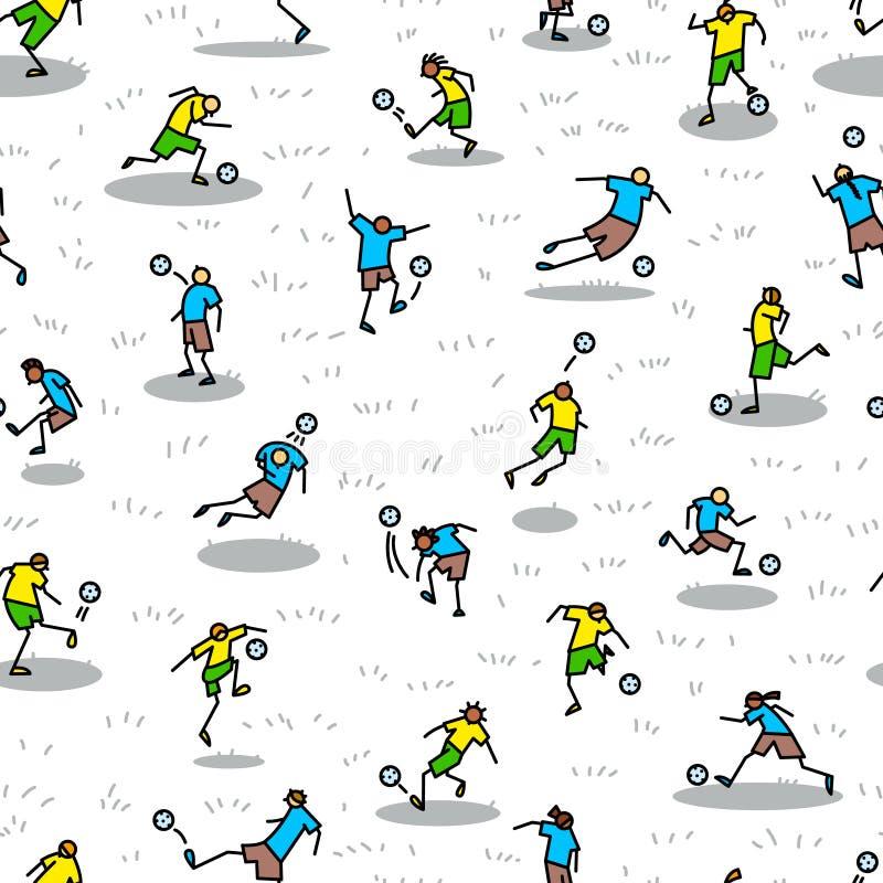 Fundo com os jogadores de futebol com bola Teste padrão sem emenda de m ilustração stock