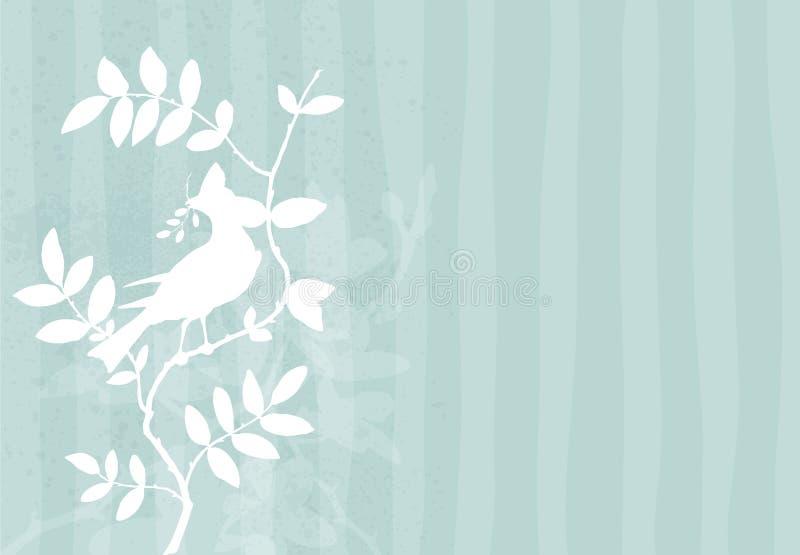 Fundo com pássaro em uma filial ilustração stock
