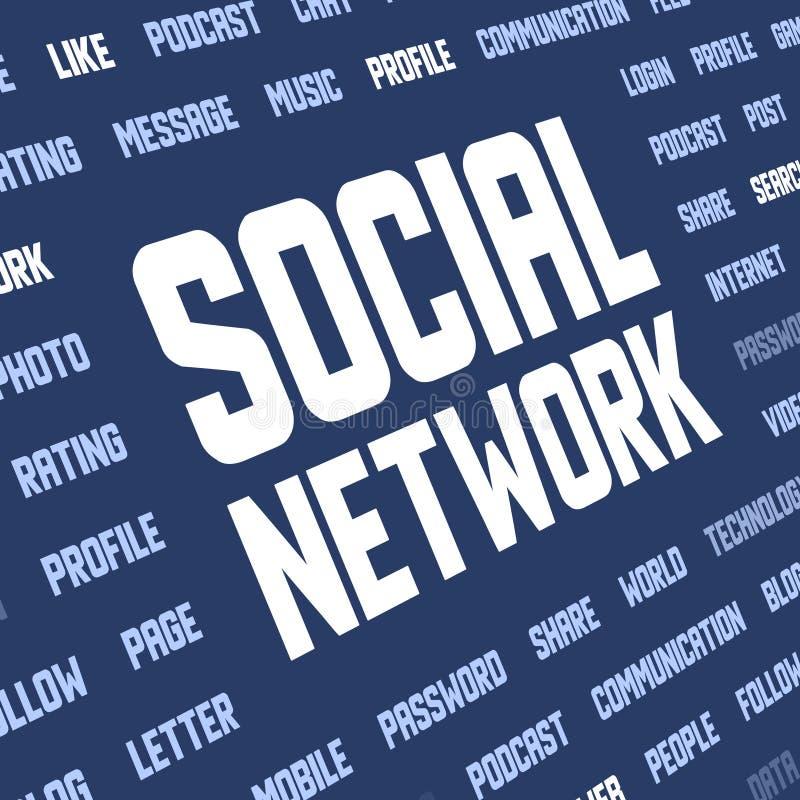 Fundo com palavras-chaves sociais da rede ilustração royalty free