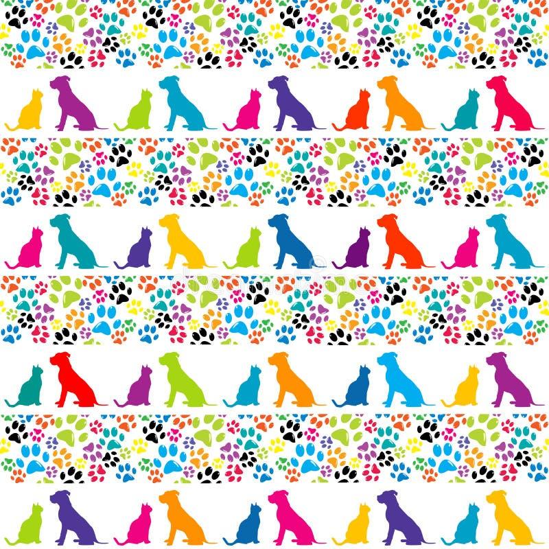 Fundo com pegadas animais e silhueta do cão e gato ilustração stock