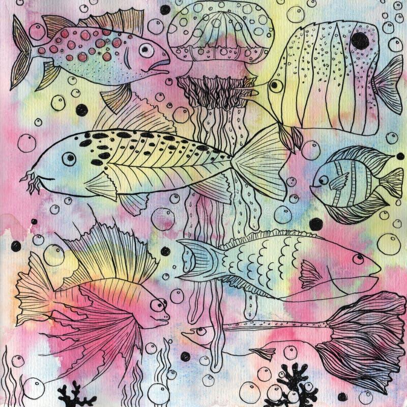 Fundo com peixes e medusa ilustração stock