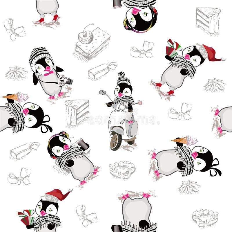 Fundo com pinguins bonitos ilustração stock