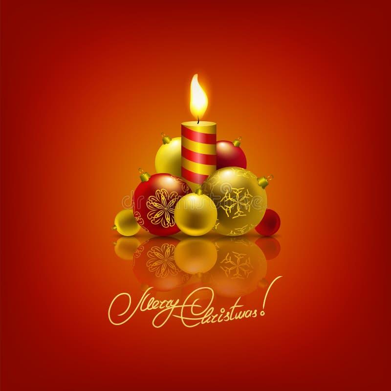 Fundo com quinquilharias, árvore de Natal. ilustração stock