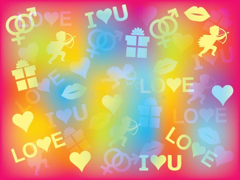 Fundo com símbolos do dia de Valentim ilustração stock
