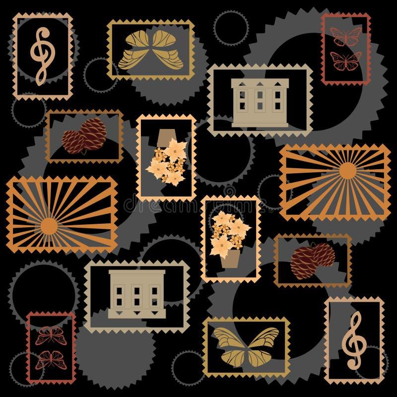 Fundo com selos postais multi-coloridos ilustração stock