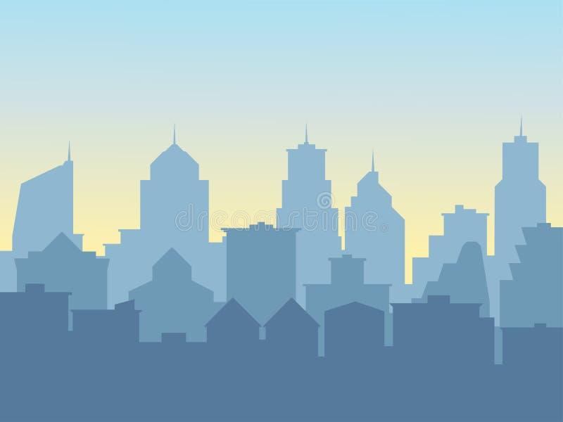 Fundo com silhuetas das construções, metrópole grande da cidade ilustração do vetor