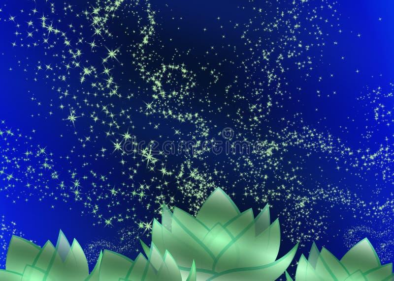 Fundo com sparkles e flores ilustração royalty free