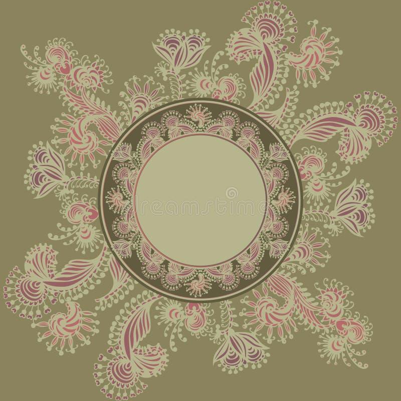Fundo com teste padrão do frame e do vintage do ornam ilustração royalty free