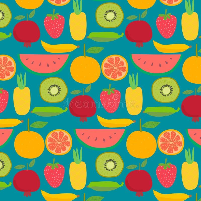 Fundo com teste padrão dos frutos ilustração royalty free