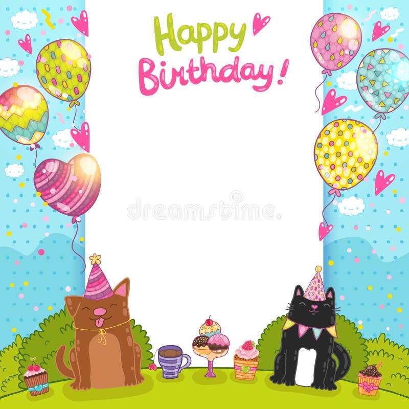 Fundo com um gato, cão do feliz aniversario ilustração royalty free