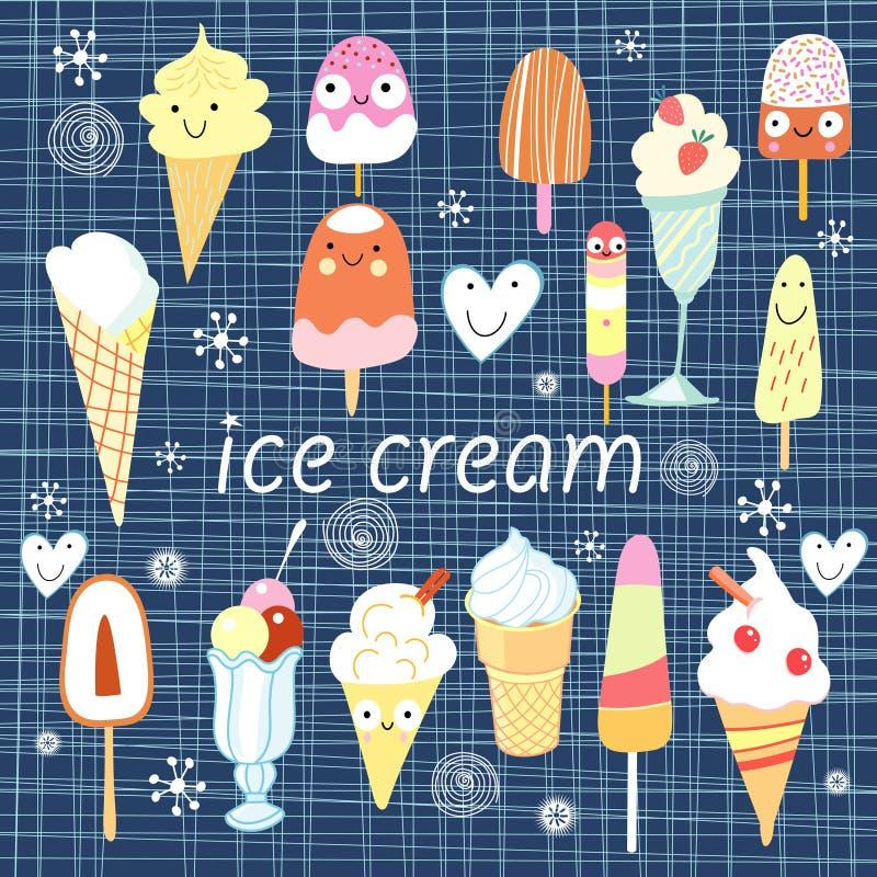 Fundo com um gelado diferente ilustração stock