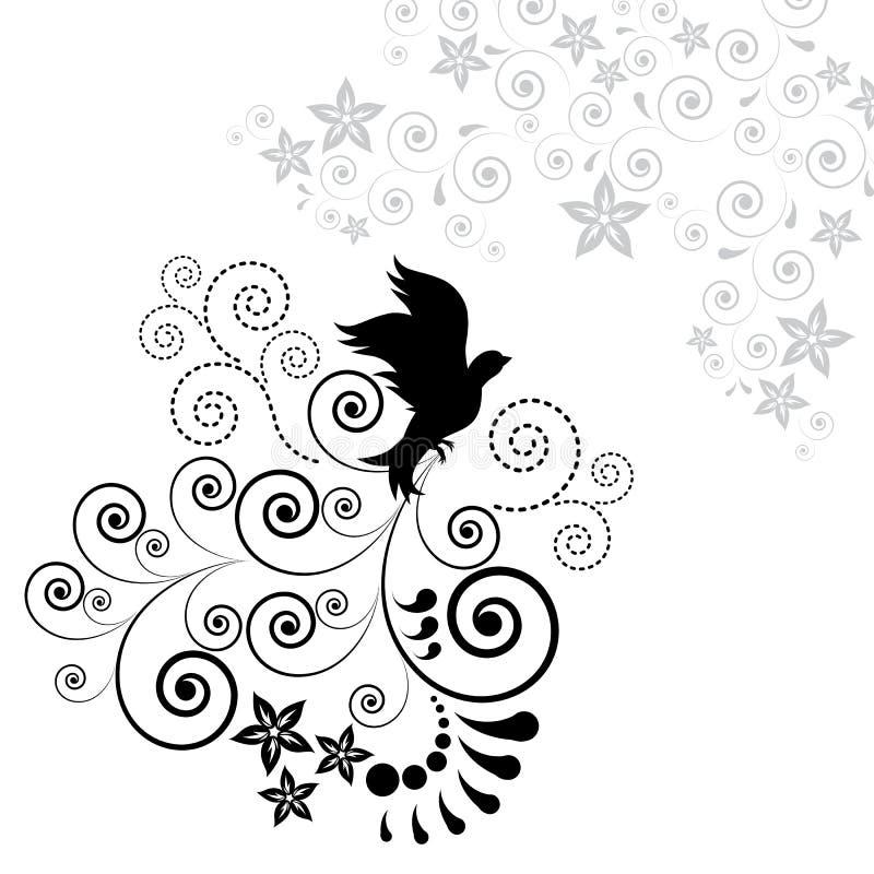 Fundo com um pássaro de vôo. ilustração do vetor