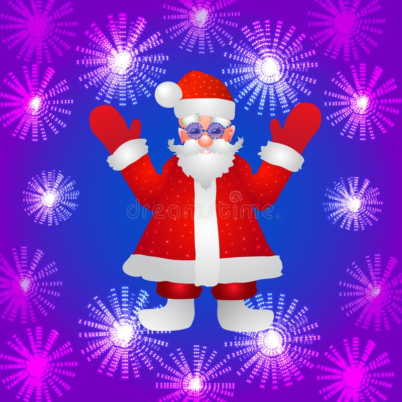 Fundo com uma figura de Santa Claus com mãos acima em um fundo azul e em umas flores luminosas estilizadas Ilustração ilustração stock