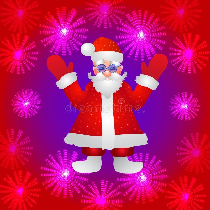 Fundo com uma figura de Santa Claus com mãos acima em um fundo vermelho e em umas flores luminosas estilizadas Ilustração ilustração do vetor