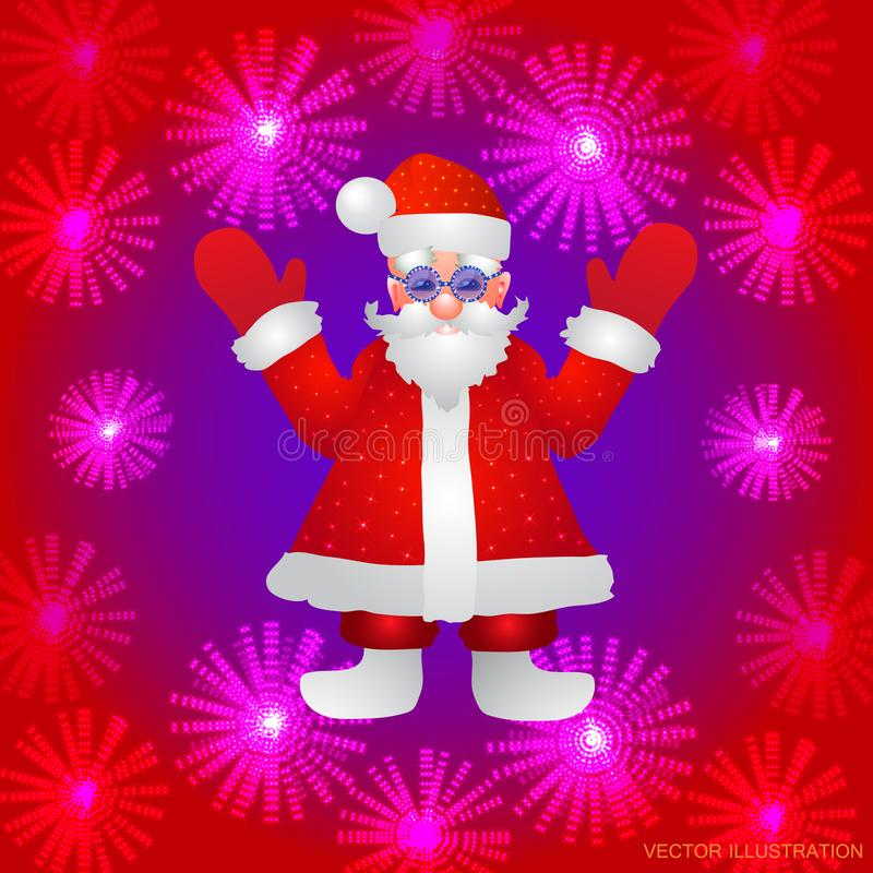 Fundo com uma figura de Santa Claus com mãos acima em um fundo vermelho e em umas flores luminosas estilizadas Vetor ilustração royalty free