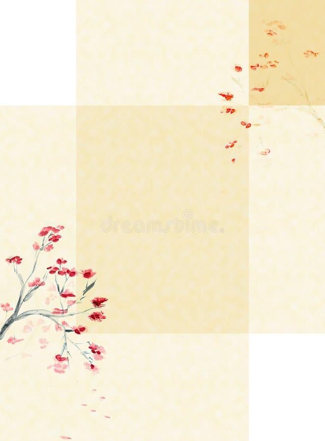 Fundo com uma flor da ameixa ilustração do vetor