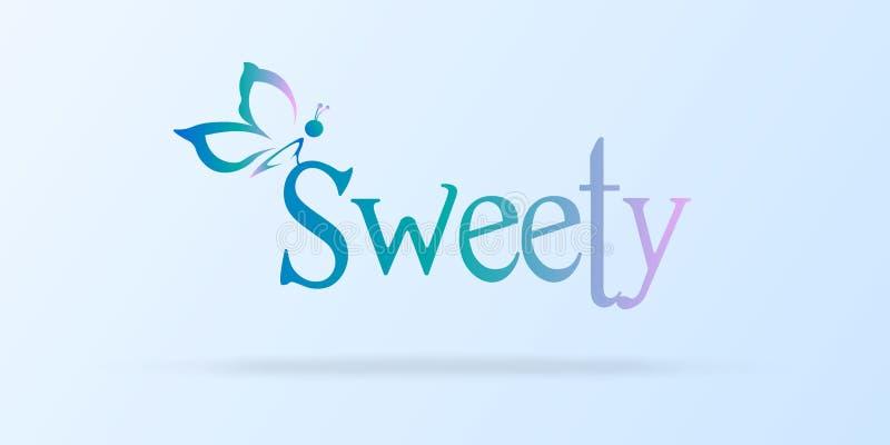 Fundo com uma silhueta da borboleta e bonito doces ilustração stock