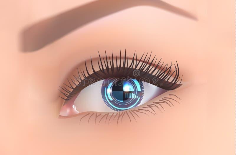 Fundo com vetor da nova tecnologia do conceito do olho-Internet ilustração stock