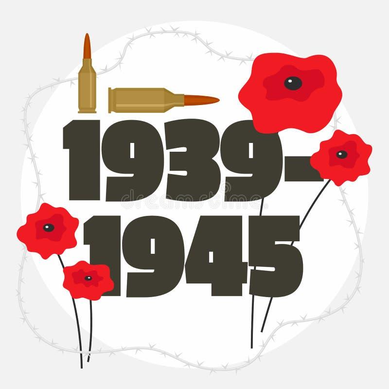 Fundo comemorativo da segunda guerra mundial, estilo liso ilustração royalty free
