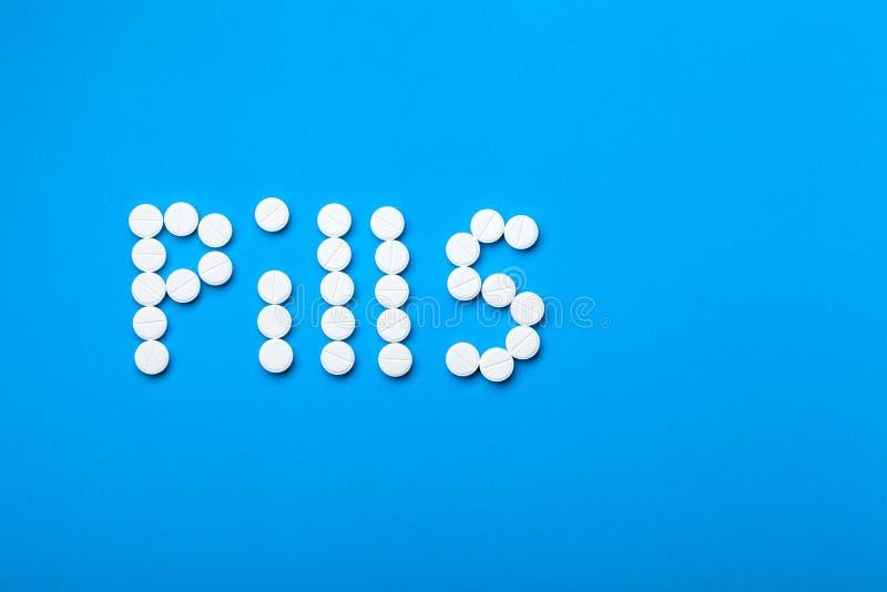 Fundo conceptual nos comprimidos médicos da palavra do tema fotografia de stock