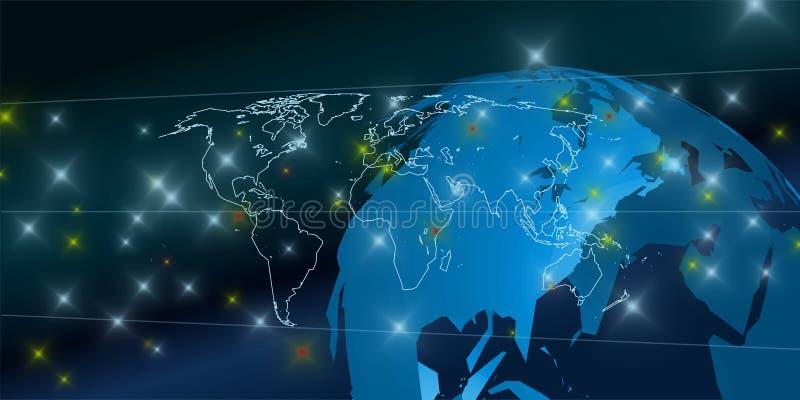 Fundo conectado do mundo 3D ilustração royalty free