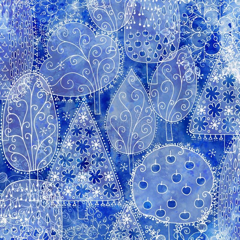 Fundo congelado da floresta do inverno das árvores ilustração do vetor
