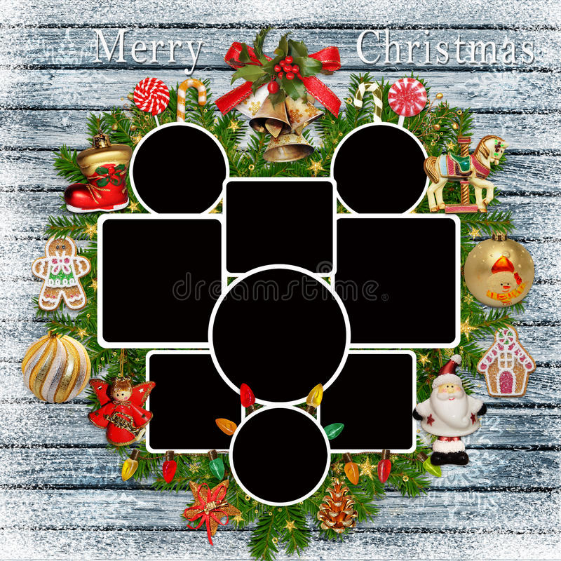 Fundo congratulatório do Natal com quadros da foto, ramos do pinho e decorações do Natal ilustração do vetor