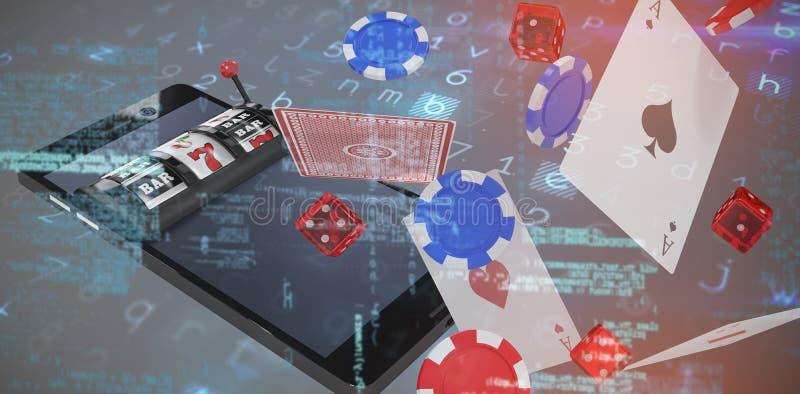 fundo contra a imagem 3d do slot machine no telefone celular ilustração do vetor