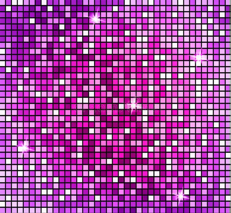 Fundo cor-de-rosa abstrato de brilho do mosaico Mosaico brilhante no estilo da bola do disco O disco de prata do vetor ilumina o  ilustração stock
