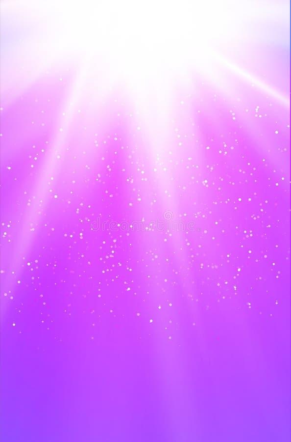 Fundo cor-de-rosa brilhante com raios, pontos e estrelas ilustração do vetor