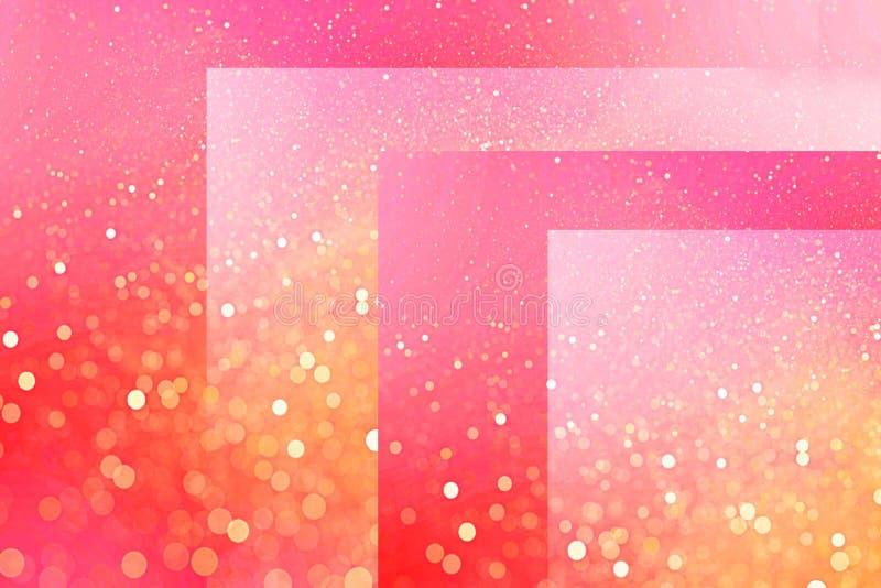 Fundo cor-de-rosa brilhante dos cubos e das linhas com sparkles defocused do efeito do bokeh por feriados ilustração do vetor