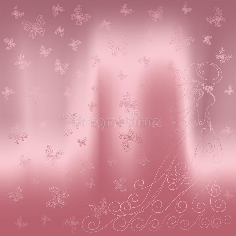 Fundo cor-de-rosa de brilho bonito com senhora e butterf abstratos ilustração stock