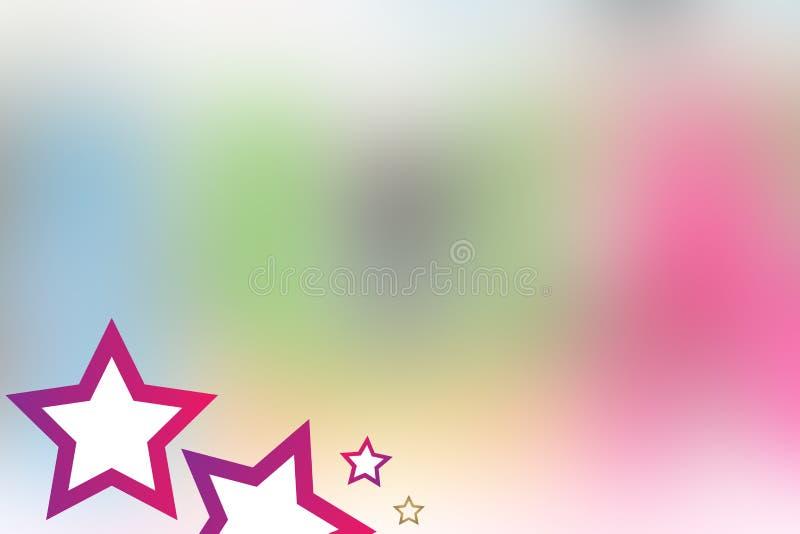 Fundo COR-DE-ROSA colorido bonito da ESTRELA para miúdos pequenos 21 de julho de 2017 ilustração do vetor