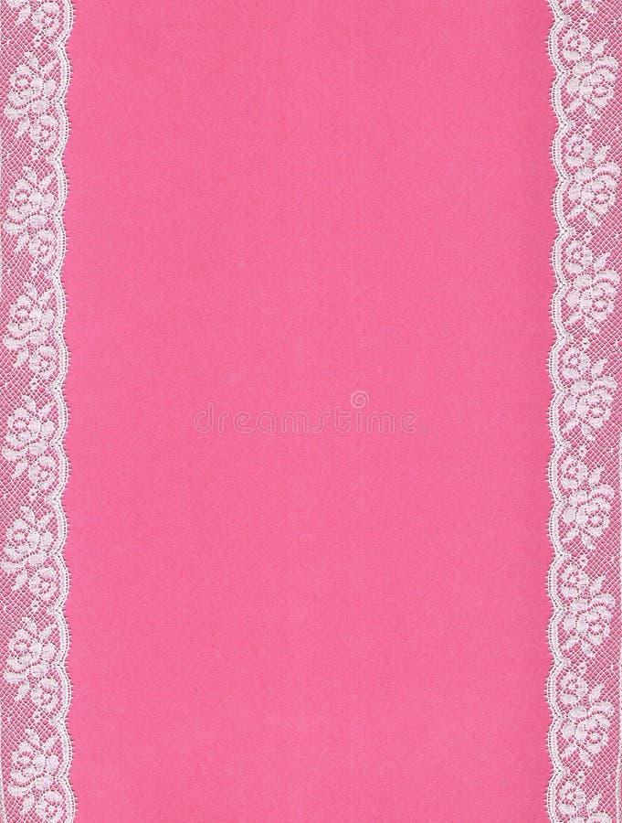 Fundo cor-de-rosa com beiras do laço; imagem de stock royalty free