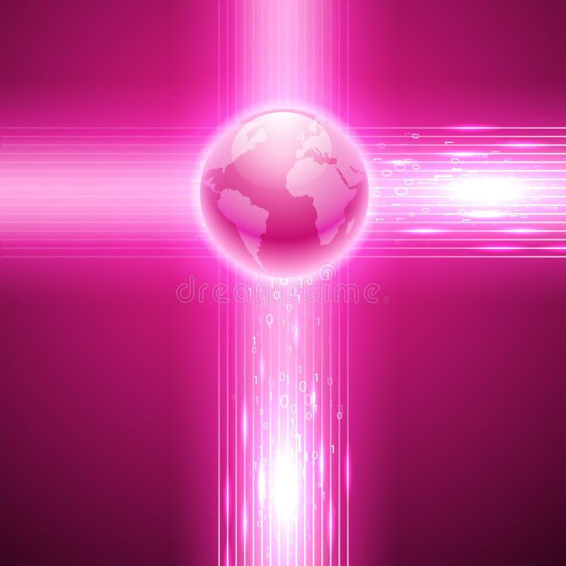 Fundo cor-de-rosa com código binário ao globo ilustração stock