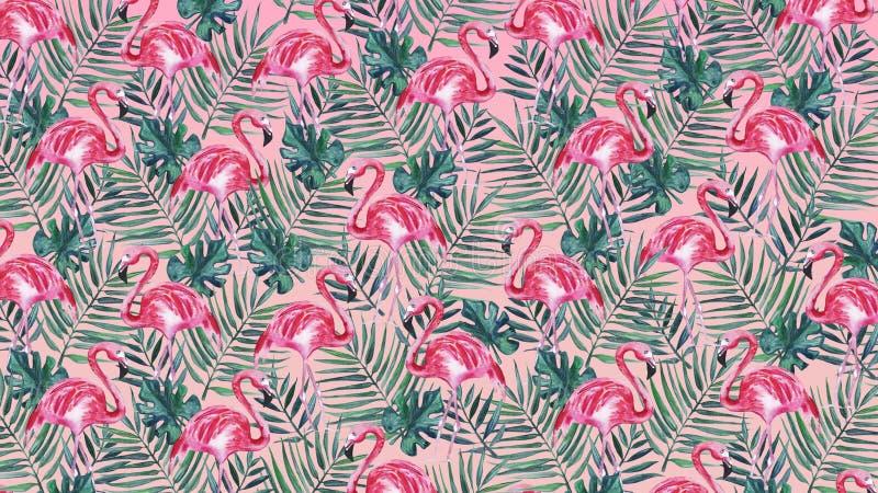 Fundo cor-de-rosa com flamingo e folhas de palmeira cor-de-rosa Ilustra??o da aguarela ilustração stock