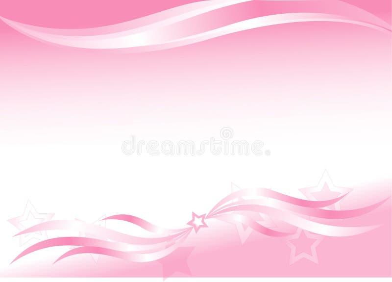 Fundo cor-de-rosa com ondas e estrelas ilustração royalty free