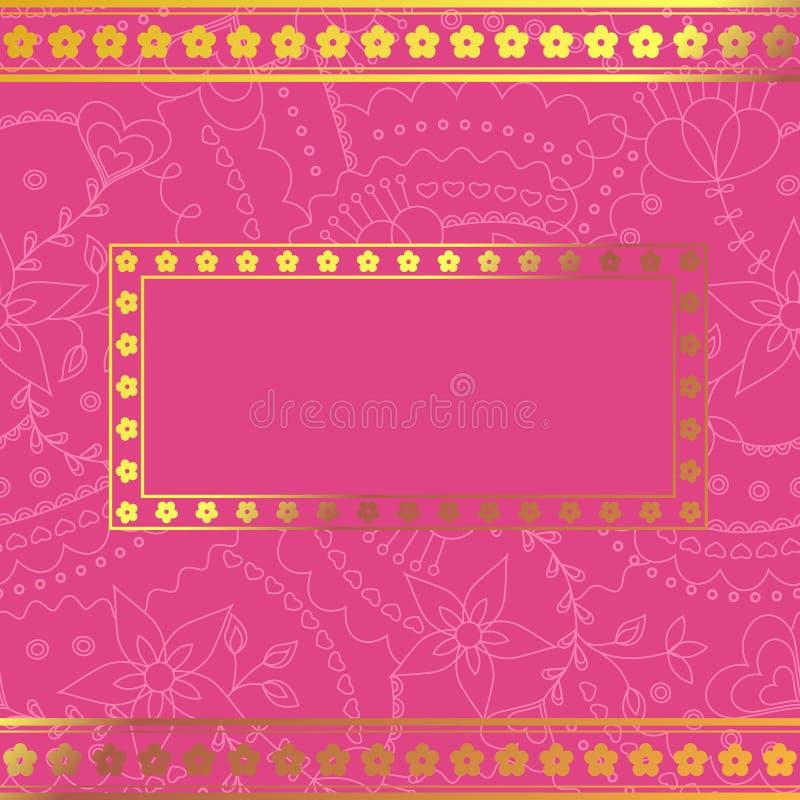 Fundo cor-de-rosa com quadro dourado ilustração stock