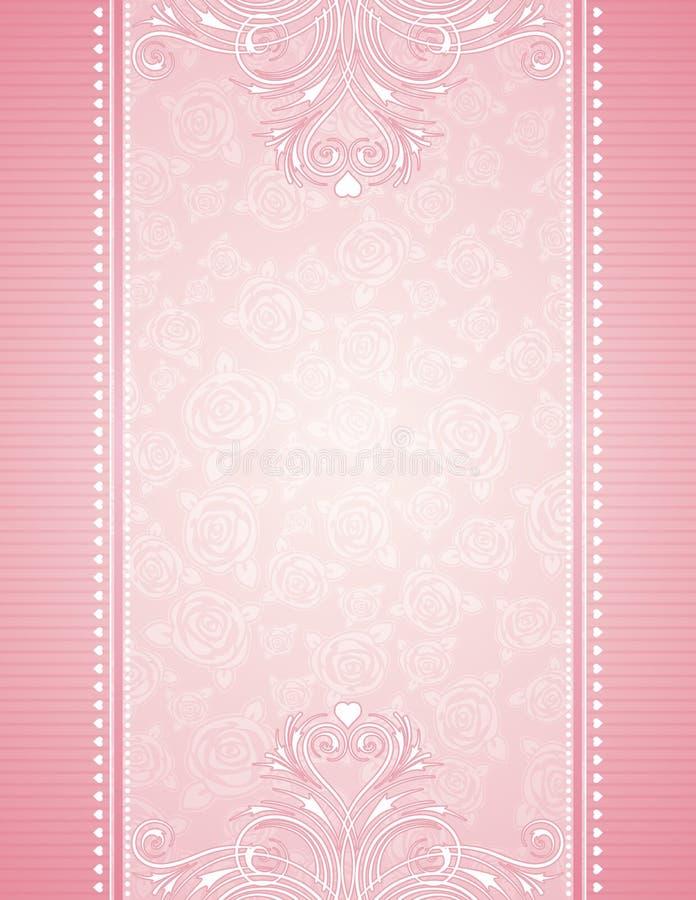 Fundo cor-de-rosa com rosas ilustração royalty free