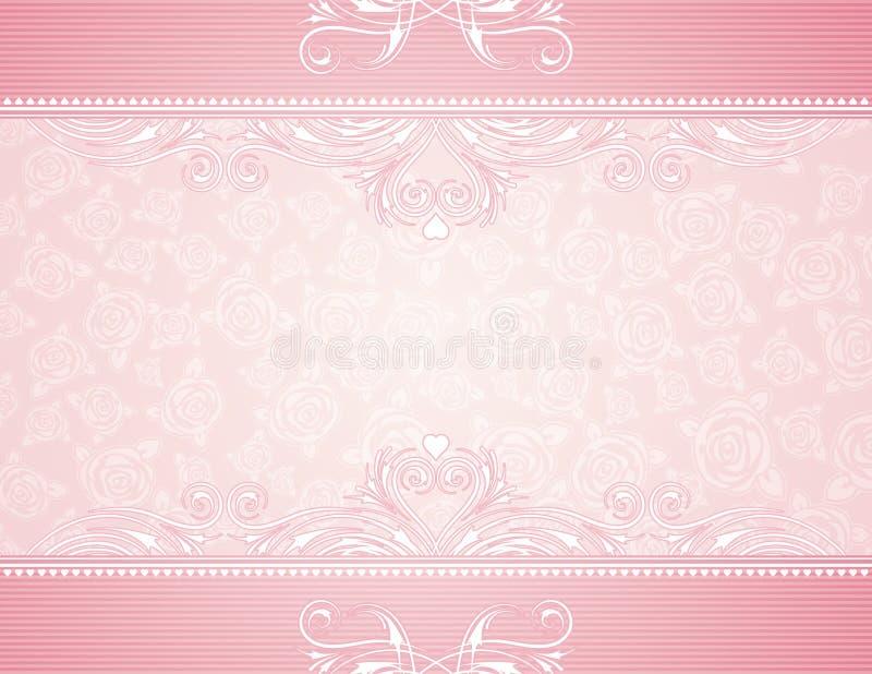 Fundo cor-de-rosa com rosas ilustração do vetor