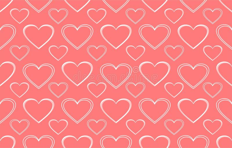 Fundo cor-de-rosa com teste padrão do coração fotografia de stock royalty free