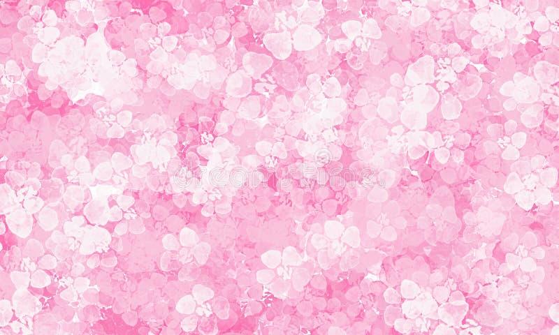 Fundo cor-de-rosa com teste padr?o de flores ilustração do vetor