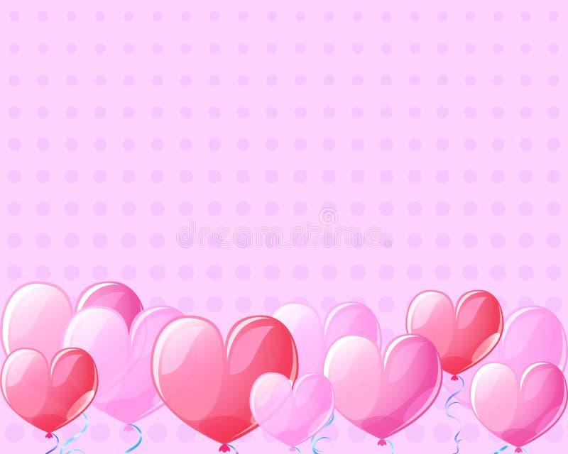 Fundo cor-de-rosa da bandeira do vintage dos balões de ar do coração para St Valentine Day ilustração stock
