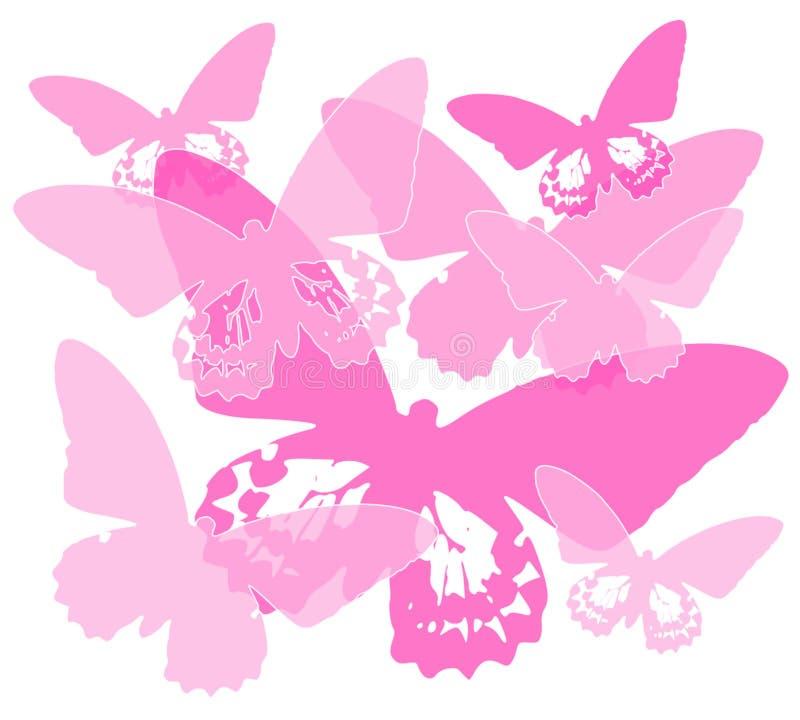 Fundo cor-de-rosa da silhueta da borboleta ilustração royalty free