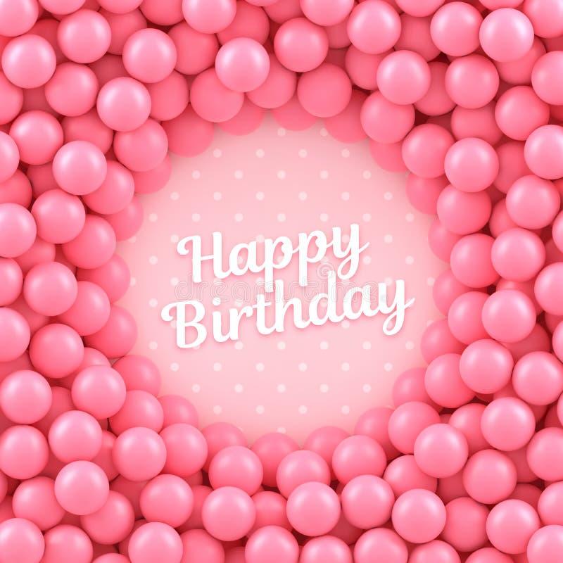 Fundo cor-de-rosa das bolas dos doces com feliz aniversario ilustração royalty free