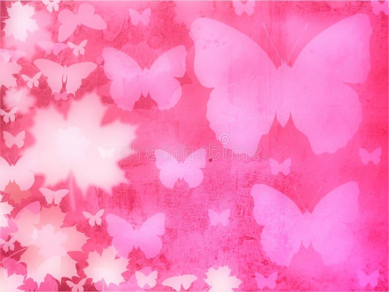 Fundo cor-de-rosa das borboletas ilustração do vetor
