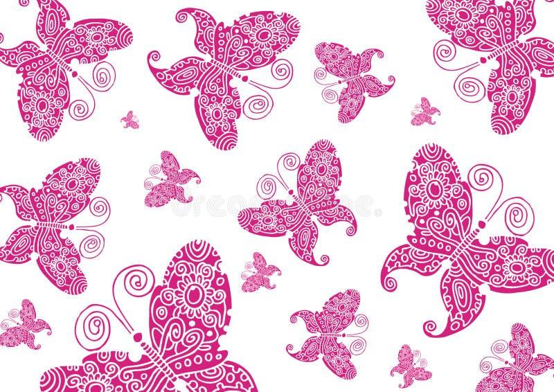Fundo cor-de-rosa das borboletas ilustração royalty free
