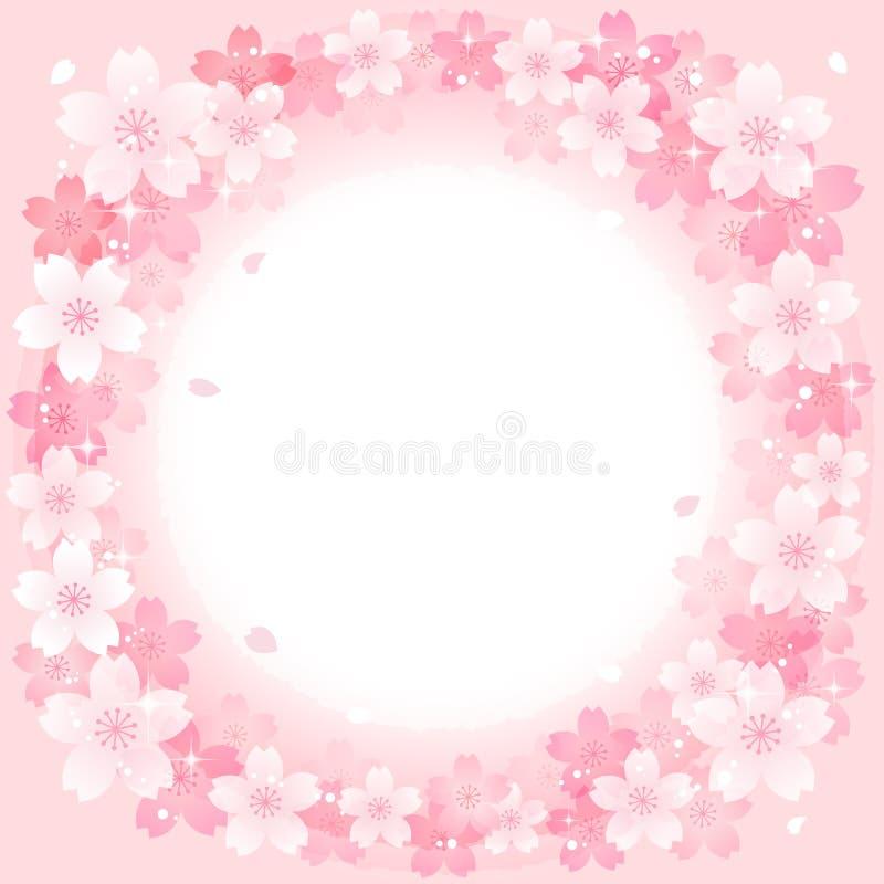 Fundo cor-de-rosa de Cherry Blossoms Circle da mola ilustração do vetor